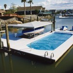 boat dock with floating pool