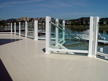 glass rail on brock deck