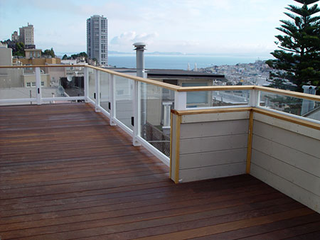 glass rail on balcony