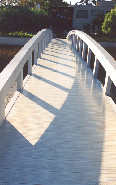 Walkway bridge with vinyl decking
