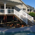 Deck with Patio Cover, Glass Rail and Staircase